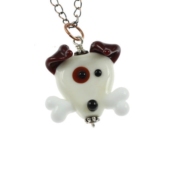 Dog With Bone - Handmade Lampwork Necklace