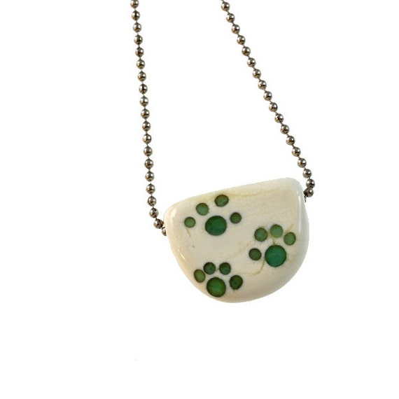 Teal Paws Tab - Glass Lampwork Paw Prints Necklace