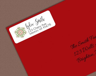 Christmas Address Labels, Snowflake Address Stickers, Personalized Return Address Label Sticker, Custom Gift Tags, Return Address Label