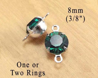 Emerald Green Glass Beads, 8mm round, Silver or Brass Settings, One or Two Rings, Rhinestone, Cabochon, Glass Gems, Rhinestones, One Pair