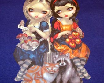 CLEARANCE Tshirt Alice and Snow White by Jasmine Becket-Griffith Junior Size Jr. blue 100% cotton tee t-shirt sublimation small medium