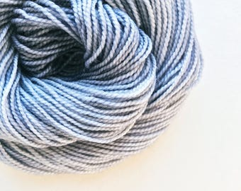 ash / hand dyed yarn / fingering sock dk bulky yarn /super wash merino wool yarn/single or ply / choose your base / pale light grey yarn