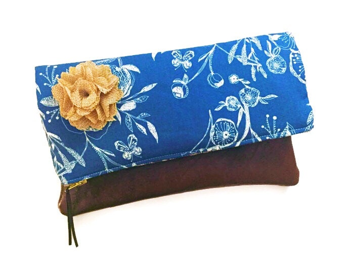 Anemone Blue Floral Leather Clutch Evening Bag Fold-Over