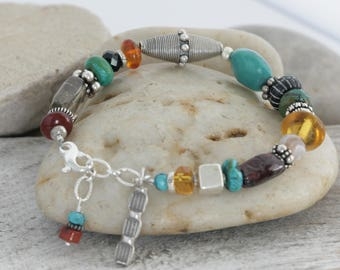 Turquoise Glass Gemstones HILL TRIBE Silver Bali Sterling Silver Bracelet // handcrafted jewelry // luluglitterbug