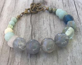 STORMY Skies BOHO Stack BRACELET with Vintage beads, Gemstones and Antique Brass; Adjustable Length