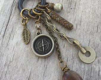 JOURNEY TALISMAN with COMPASS Necklace, Gypsy Silver, Moonstone Gemstone, Charms, Czech glass beads