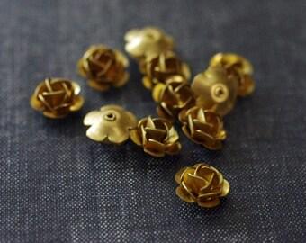 11mm Riveted Brass Roses - Raw Brass - 12pcs - Brass Rosettes - 3D Rose - Metal Flower - Layered Brass Flower - Vintage Brass