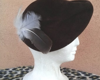 Vintage 1940s Hat Tilt 40s Capulet Beret Brown Wool Asymmetrical Sculptural