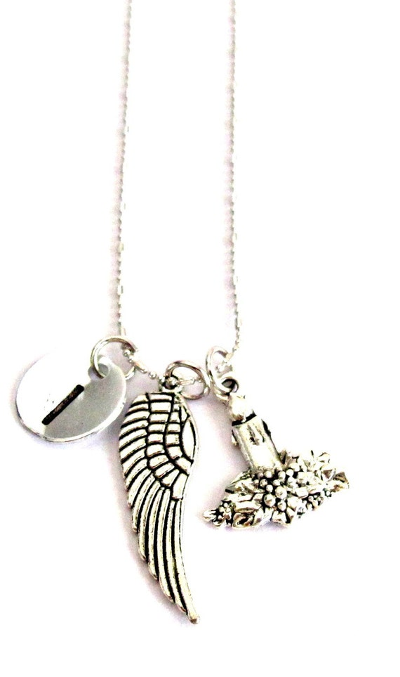 Angel wing necklace, Memory necklace, Initial necklace, remembrance necklace, Sympathy Gift ,Miscarriage Jewelry, Free Shipping In USA