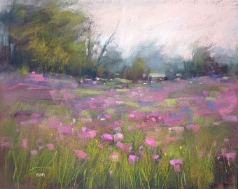 Original Pastel Painting Meadow with Wildflowers 16x20 by Karen Margulis psa