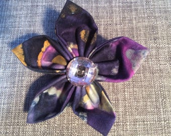 Purple Crystal  Watercolor Print Fabric Flower Brooch Pin