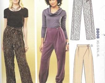Kwik Sew 3808 - WRAPPED Wide Leg or GATHERED PANTS  - Sewing Pattern - Sizes xs-s-m-l-xl - Uncut