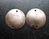 Antiqued Fine Silver Fused Copper Discs - 1 pair - 20mm - Double Hole Domed Charms