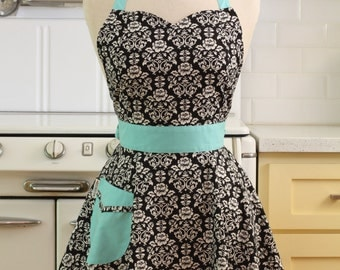 The BELLA Vintage Inspired Black and White Floral Damask with Aqua Full Apron