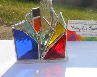 Mini #8 Rainbow Triangle Shaped Stained Glass Candle Holder zen yoga gift home decor office dorm studio functional art