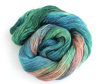 Handdyed 4ply sock yarn, fingering merino bright donegal fleck knitting wool, blue green pink crochet Perran Yarn Years Gone By, uk