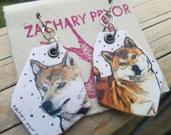 Shiba Inu hand-painted dog earrings
