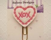 Hugs Kisses White Pink Heart Valentine Planner Clip, Bookmark, Planner Accessory, Paper Clip