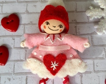 Valentine's Pixie Art Doll Pin OOAK