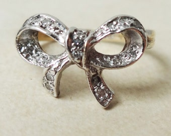 Vintage 9k Gold Diamond Bow Ring, Sweet Diamond Engagement Ring Approx. Size US 3.25