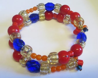 40% off SALE bracelet and red blue orange memory wire fashion jewelry