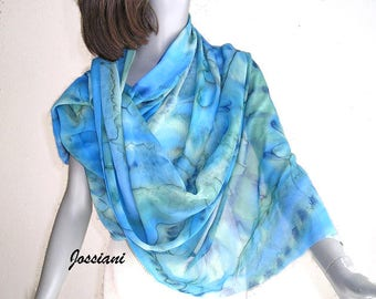 Hand Painted Shawl Coverup, Unique Silk Chiffon Wrap, Hand Dyed Shawl, Cobalt Royal, Ocean Blues, Aqua Moss Accents, Hand Made, Jossiani.