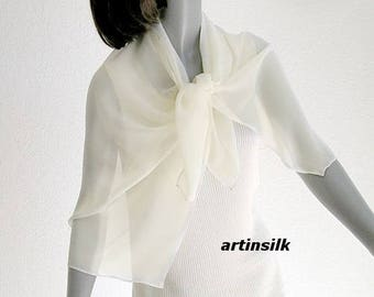 Ivory Shoulder Scarf Hand Dyed, Petite Small Chiffon Wrap Formal Silk Shawl, Pure Silk Chiffon, Special Occasion, ready to ship.