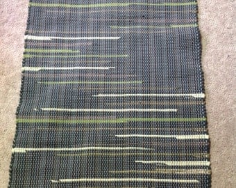 Rag Rug 35inches long by 27 inches wide cotton knit bedsheet and tshirts  dark green