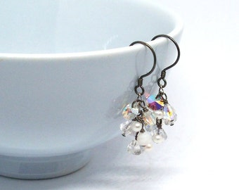 Vintage Bouquet – Swarovski Crystal And Oxidized Sterling Silver Earrings