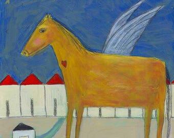 Horse Folk Art, Horse Print, Naive Art, Brown Horse, Angel, White Bird, Outsider Art, Kids Wall Art, Love Picture, Children's Art