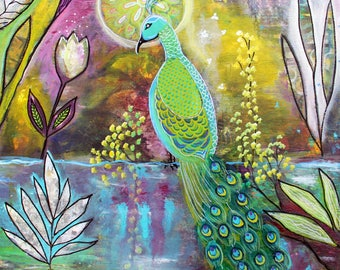 Original Modern Intuitive Painting Peacock Pond Art by Carol Iyer