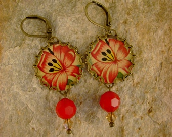 More Sweet Nectar - Vintage Hummingbird Tin Bezels Hand Cut Tins Recycled Repurposed Jewelry Earrings - Ten Year Anniversary Gift