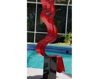 Abstract Freestanding Metal Sculpture, Large Yard Art, Red Garden Art Decor for a Modern Home - Red Transitions by Jon Allen