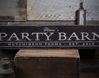 Party Barn Sign, Party Barn Decor, Party Barn Wall Decor, Barn Sign, Barn Decor, Rustic Barn - Rustic Hand Made Distressed Wood ENS1000845