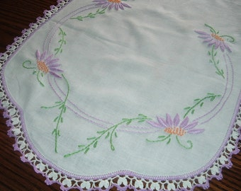 Vintage Hand Embroidered Dresser Scarf Table Runner Flowers Purple