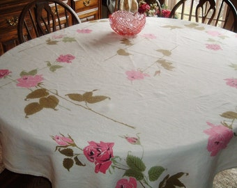 Vintage Tablecloth Pink Long Stem Roses 49 x 62 inches