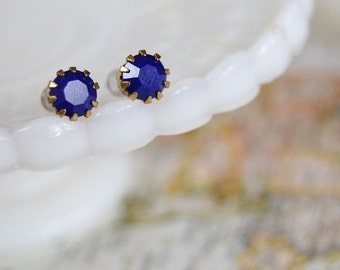 vintage royal blue swarovski crystal post earrings- crown style setting