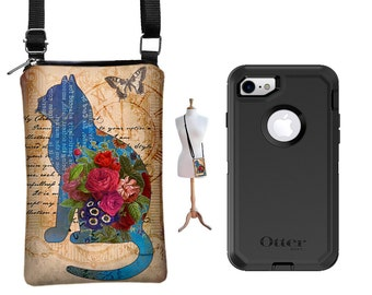 iPhone 6 / Plus Case, iPhone 7 / Plus Case  fits Otterbox Defender Cover, Cell Phone Purse,  Small Crossbody Bag, Cat Butterfly Floral MTO