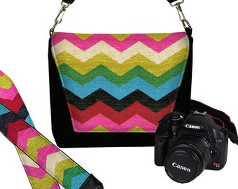 SET Dslr Camera Bag Purse and Camera Neck Strap for Nikon Canon Sony Colorful Chevron Womens Messenger Bag red blue green pink  rainbow MTO