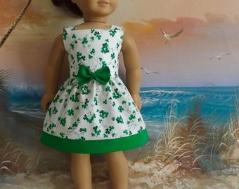 "18"" Doll Dress St Patricks Day White and Green Ivy Clover Shamrock Sundress NEW Item Will Fit AG"