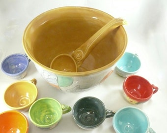Punch Bowl Set, Holiday Party Bowl and Cups, Large Ceramic Serving Bowl, Soup Ladle, Decorative Tea Cups,