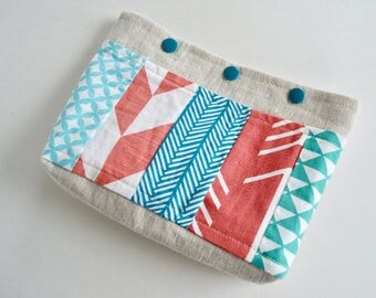 Patchwork Snap Pouch - Linen Snap Pouch - Aqua blue and coral pouch - Make up Pouch - Cosmetic Pouch - Colorful Pouch - Gift for Teachers