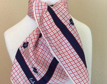 Vintage Echo silk clover scarf orange and navy