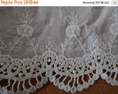 CLEARANCE - White  floral lace trim, 4.75 x 66 inches