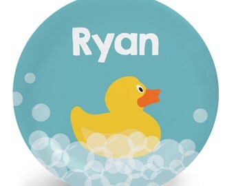 Rubber Ducky Plate - Child's Plate - Rubber Duck Melamine Bowl or Plate Custom Personalized with Childs Name