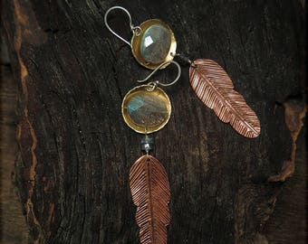 E1524 Labradorite and Feather Brass Copper Sterling earrings