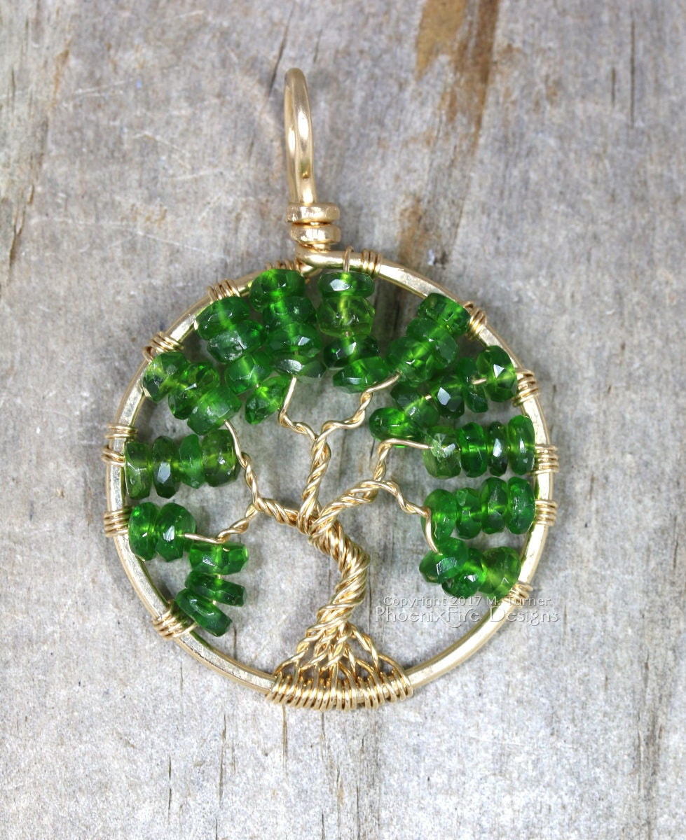 14k Gold Emerald Green Chrome Diopside Tree Of Life Pendant