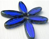 25% OFF Out of Town SALE Sapphire Table Cut Picasso Czech Spindle Beads 16mm (G - 597)