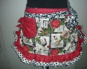 Womens Rooster Aprons - Aprons with Chickens - Farm Girl Half Aprons - Chicken Fabric Aprons - Black Pokadotted Aprons - Annies Attic Aprons