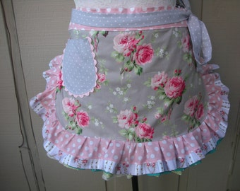 Womens Aprons -  Lavender Aprons - Handmade Aprons - Lavender Rose Aprons - Shabby Chic Pink Aprons - Annies Attic Aprons - Handmade Aprons